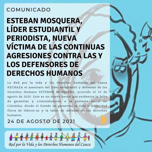 Esteban Mosquera Comunicado 24-ago-2021